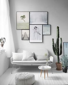 gallery wall in grey room