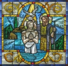 Shows Christ' baptism by John the Baptist with God and the Holy Spirit looking on. | St. Barnabas Episcopal Church - Portfolio Of Restoration & Original ...