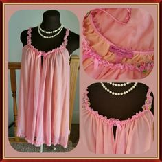 """HP 8/17/15 """"Sweet dreams are made of this"""" Nightie So sweet & delicate! You will be sure to have sweet dreams when wearing this beautiful nightie by Betsey Johnson. Features 2 layers of 100% nylon. The inside layer is a soft orange and outside is a delicate pink. Cute ruffle and rosebud detail on the adjustable straps and a flirty ruffled hem. Center bow and keyhole in front. Measures 20 inches long from bottom of arm hole to hem line. In perfect condition, dose not appear to have ever been…"""