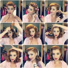 technique coiffure pin up Cabelo Pin Up, Peinados Pin Up, Looks Pinterest, Pinterest Hair, Bob Hair, Hair Dos, Retro Hairstyles, Wedding Hairstyles, Vintage Hairstyles Tutorial