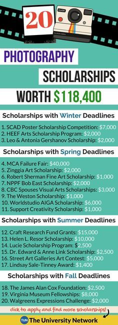 Photography Scholarships Here is a selection of Photography Scholarships that are listed on TUN. - College Scholarships Tips College Life Hacks, College Club, College Years, College Tips, College Savings, College Checklist, College Dorms, Dorm Life, Online College