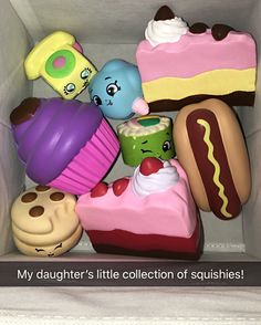 "My daughter's little squishy collection! She loves these things! They are very slow rising and as she says ""Relaxing"" haha. They're stress relievers in a kid-version."