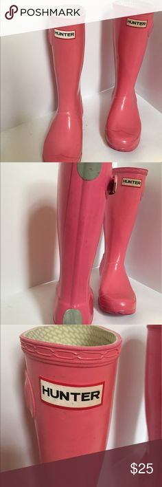 """Girls pink hunter rain boots Wellington Adorable pink girls Hunter rain boots. Classic,durable, beautiful! Boots are about 12"""" heel to top. Buckle detail. Size 4 girls. Some scuffing and wear, pictured. Lots of life left! Hunter Shoes Rain & Snow Boots"""