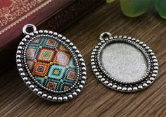 0.99$  Watch here - 4pcs 18x25mm Inner Size Antique Silver Flowers Style Cameo Cabochon Base Setting Charms Pendant necklace findings  (C2-25)   #buyonlinewebsite