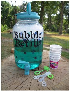 Iced tea jar becomes bubble refiller - more poison kids. who needs a tainted apple  - let them slurp down detergent