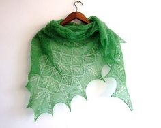 knit lace shawl green leaf motif triangular by KnitsDeLuxe on Etsy, $85.00