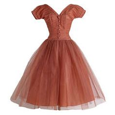 1950s Emma Domb Bronzed Tulle Dress