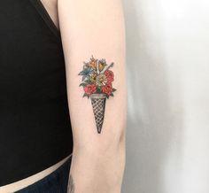 Ice cream and flowers tattoo. #ıcecreamtattoo #flowers
