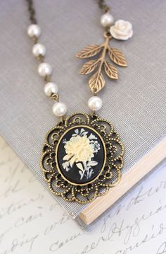Flower Cameo Necklace Black Cameo Pendant Ivory