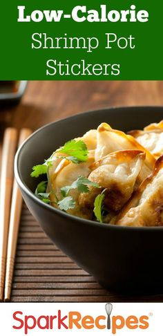 Craving crab rangoon but not all the calories? This delightful makeover is healthier and cheaper: Skinny Shrimp Pot Stickers! These also make a delicious and fun party appetizer that you can feel good about serving! Seafood Recipes, Appetizer Recipes, Cooking Recipes, Healthy Appetizers, Asian Recipes, Healthy Recipes, Healthy Dinners, Healthy Tips, Yummy Recipes