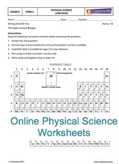 Grade Nine Online Physical Science Worksheets. Elements table. For more visit www.e-classroom.co.za!