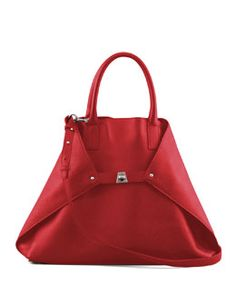 L06MQ Akris Ai Cervo Medium Shopper Tote Bag, Lipstick