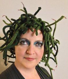 Medusa Knit Hat Pattern Halloween Costume by KeskaSaysMake