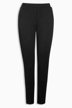 Black Textured Cigarette Trousers 448-417