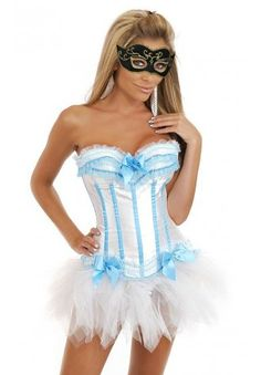 White and Blue Burlesque Corset With Tutu Skirt - Bridal lingerie