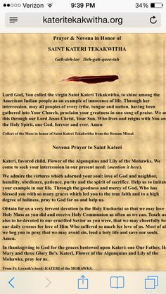 The prayer of Saint Kateri Tekawitha