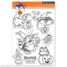 New-Penny-Black-SCARY-HALLOWEEN-Clear-Stamps-Witch-Cat-Pumpkin-Hedgehog-Owl-Mice