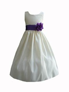 b88bf105b Amazon.com: Classykidzshop Sateen Taffeta Ivory Flower Girl Dress with  Yellow Sash - Size 2T: Special Occasion Dresses: Clothing