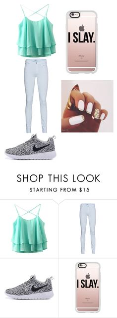 """""""i slay"""" by alexiscmcdougald ❤ liked on Polyvore featuring 7 For All Mankind and Casetify"""