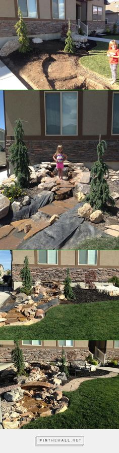 FINALLY DONE! My Pondless Waterfall and Stream build process. The stream is about 1½' wide x 17' long. #2015summerproject - created via http://pinthemall.net