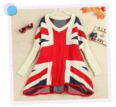 5772e6ff69 Suéter feminino bandeira da Inglaterra UK