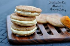 Snickerdoodle cookies filled with pumpkin cream cheese icing #fallrecipes