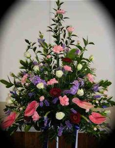 mother's day flower arrangements for church | Pedestal arrangements can used in churches for funerals. Priced from ...