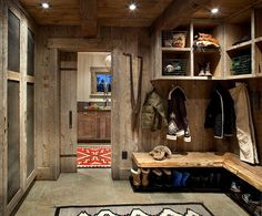 "What a dream MUD ROOM ! Look at the closet space on the left ... put in a nice stone pad with a 12"" rim  around, facet with a sprayer to rinse off boots, feet or muddy dog.                                 High Times by Peace Design"