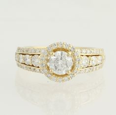 NEW Diamond Engagement Ring - 14k Yellow Gold Halo 1.35ctw - Wilson Brothers Jewelry