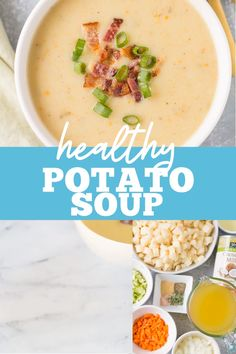 Healthy Potato Soup is total comfort food! Paleo, + vegan, this easy creamy potato soup can be made on the stove, in the slow cooker or instant pot. Clean Eating Soup, Clean Eating Vegetarian, Clean Eating Recipes For Dinner, Clean Eating Breakfast, Clean Eating Crock Pot Meals, Breakfast Soup, Dinner Recipes, Potato Soup Vegetarian, Healthy Potato Soup