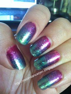 Moondancerjen's Nails: Glitter Rainbow Gradient Zoya Nail Art. Using Alegra, Mimi, Charla, and Apple.