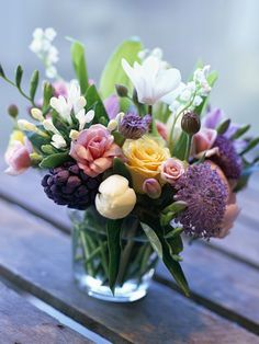 The secret to keeping this bouquet cheap is choosing a small vessel like a glass to put it in..