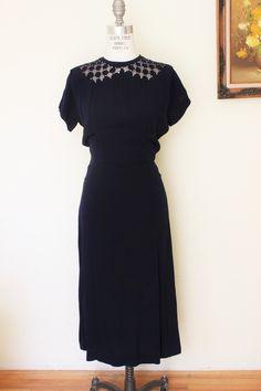 Vintage 1940s Navy Blue Rayon Peekaboo Dress