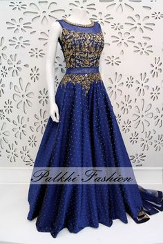 PalkhiFashion Exclusive Full Flair Navy Blue Silk Gown with Elegant Top Work.