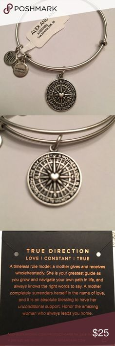 """NWT Alex and Ani true direction bangle Brand new with tags...rafaelian silver bangle that's reads """"a mothers love is true North always guiding the way home"""" comes with meaning card. From a smoke and pet free home. ❌no trades❌ Alex & Ani Jewelry Bracelets"""