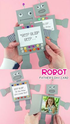 How to Make a Robot Father's Day Card How to Make a Paper Robot -Easy Father's Day card idea for kids! Easy way to make a paper robot card for Father's Day, Mother's Day or any time of the year. Simple and easy Father's Day card for preschoolers and Kids Fathers Day Crafts, Fathers Day Cards, Gifts For Mothers Day, Diy Father's Day Gifts From Daughter, Mother Daughter Crafts, Diy Birthday, Birthday Cards, Birthday Gifts For Daddy, Diy For Kids
