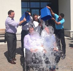 A big crowd of employees at our Western Financial Group office in Winnipeg watched Petsecure's Interim President & COO Rod Cunniam and Grant Ostir, President of Western's Group Insurance Solutions, get wet for the ALS Ice Bucket Challenge!  Stay tuned for a video!