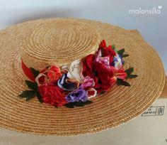 Pamela de rafia - paja RUBIELOS con flores en rojo, canotier de ala ancha xxl by Malonsilla