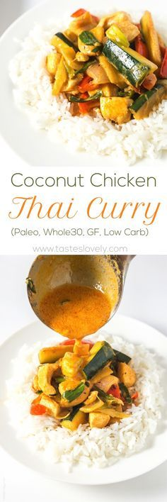 Coconut Chicken Thai Curry – a flavorful and mild spicy chicken and vegetable thai curry recipe. Ready in under 30 minutes, and healthy too! Paleo, Whole30, gluten free and low carb.