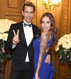 Florian Wess und Gina-Lisa Lohfink posieren beim Dresdner Opernball für die Fotografen.