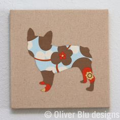 French Bulldog appliqued wall panel  10 x 10 inches in red