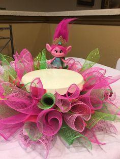 Poppy Troll Cake Stand Skirt , Troll Birthday Party Centerpiece for Cake , Troll Cake Stand Skirt , Poppy Troll Birthday Decor by FrAyeD997 on Etsy https://www.etsy.com/listing/532109309/poppy-troll-cake-stand-skirt-troll