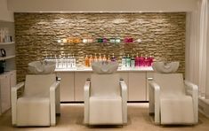 Peach Chairs With Decorative Stone Wall For Small Hair Salon Interior Design… …