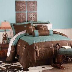 Western Decor Rustic Turquoise Cross Bedding Set