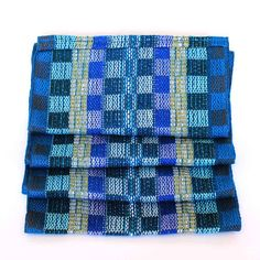 Blue Plaid Scarf  Handwoven Scarf  Cotton Infinity Scarf
