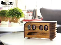 BEST SELLING Vintage Nixie Tube Clock - Art Deco design with Nixie tubes made in the Cold War Era - Wooden enclosure handcrafted by Nuvitron Nixie Tube, Art Deco Design, Retro Design, Radios, Radio Antigua, Clock Art, Clocks, Science Gifts, Nerd Gifts
