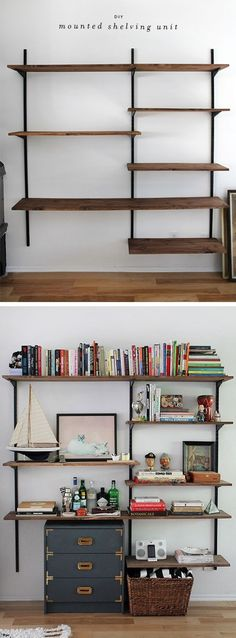"""DIY wall-mounted shelving :: Uses twin tracks & sturdy brackets; shelf heights are adjustable. Brackets are screwed to 3/4"""" boards that were sanded & stained. As was said, it's all about meticulous planning *before* drilling any holes :-) but otherwise a fairly easy project with readily-available components. . . . . ღTrish W ~ https://www.pinterest.com/trishw/diy-projects-arts-crafts/ . . . ."""