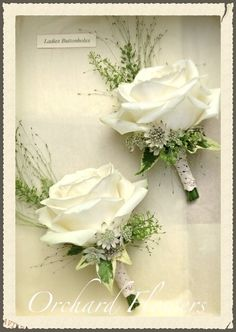 Ivory rose buttonholes
