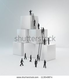 Tiny people climbing ladders to get to the top. Teamwork concept by Mopic, via ShutterStock