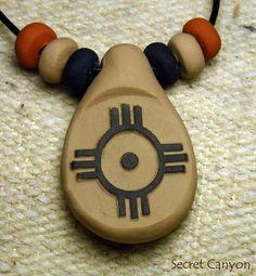 Zuni Zia Sun Southwestern Tribal Primitive Clay by SecretCanyon, $9.95